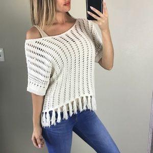 American Eagle Cream Open Knit Poncho/Sweater S